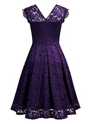 MISSMAY Women's Vintage Floral Lace Short Sleeve V Neck Cocktail Formal Swing Dress 16 Fashion Online Shop gifts for her gifts for him womens full figure
