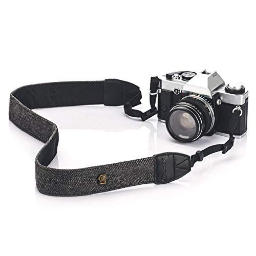 TARION Camera Shoulder Neck Strap Vintage Belt for All DSLR Camera Nikon Canon Sony Pentax Classic White and Black Weave