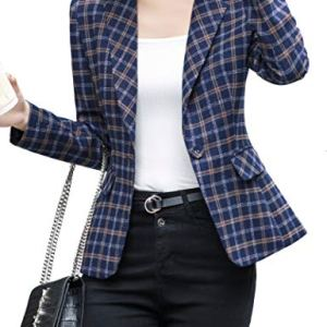 ZingineW Women's Blazer with 3/4 Sleeves Jacket One Button Office Cardigan Casual Plaid Blazers 28 Fashion Online Shop gifts for her gifts for him womens full figure