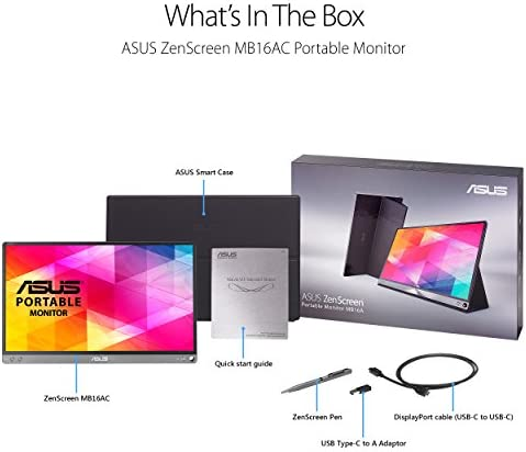 """ASUS ZenScreen 15.6"""" 1080P Portable Monitor (MB16AC) - Full HD, IPS, Eye Care, Foldable Smart Case, Ultra-slim, Lightweight, USB-C Power Delivery, For Laptop, PC, Phone, Console , Black 16"""