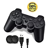 PS3 Controller, Wireless Bluetooth Gamepad Double Vibration Six-Axis Remote Joystick for Playstation 3 with Charging Cord (1-Pack)