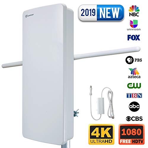 Outdoor HDTV Antenna-ANTOP 400-BV Flat Panel Amplified Antenna with Noise-Free 4G Filter for VHF Enhanced, 70 Miles Multi-Directional Reception Range, 39ft Detachable Coaxial Cable, Waterproof