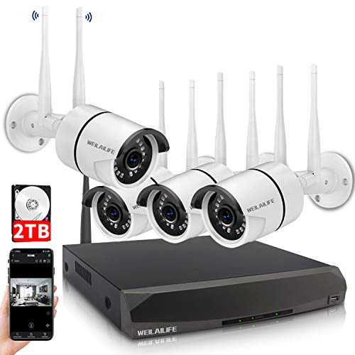 Security-Camera-System-Wireless8-Channel-Home-Outdoor-Wireless-Surveillance-Camera-System-and-4Pcs-1080P-WiFi-Security-Weatherproof-IP-Camera-with-Night-VisionRemote-View2TB-Hard-Drive