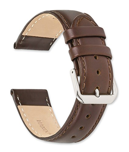 deBeer Stage Coach Leather Watch Strap - Choice of Color & Width - 10, 12, 14, 16, 17, 18, 19, or 20mm (15mm, Brown)