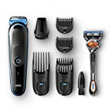 Braun 7-in-1 All-In-One Trimmer MGK5045, Beard Trimmer & Hair Clipper, Detail Trimmer, Black/Blue