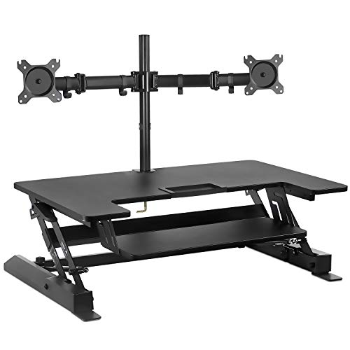 Mount-It! Standing Desk Converter with Bonus Dual Monitor Mount Included - Height Adjustable Stand Up Desk - Wide 36 Inch Sit Stand Workstation with Gas Spring Lift- Black (MI-7934)