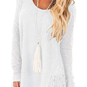 Yayu Women's Fashion Round Neck Long Sleeve Lace Knit Sweater Top
