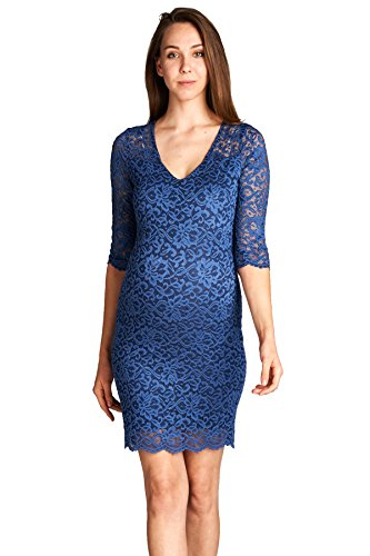 726f7730dca43 Hello MIZ Women's Maternity Floral Lace Knee Length Bodycon Dress ...