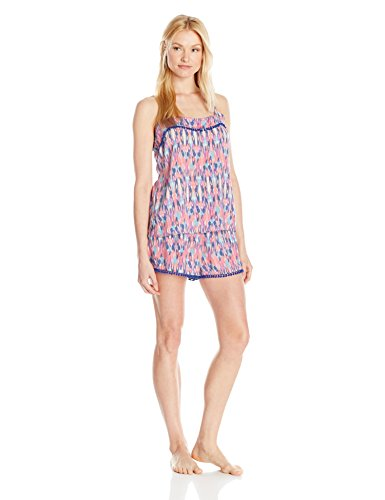 "41RSHCfZuIL Tank and shorts pajama set with allover pattern print and miniature pom-pom trim Shorts feature contrast drawstring waist, adjustable spaghetti straps Model is 5'10"" and wearing a size Small"