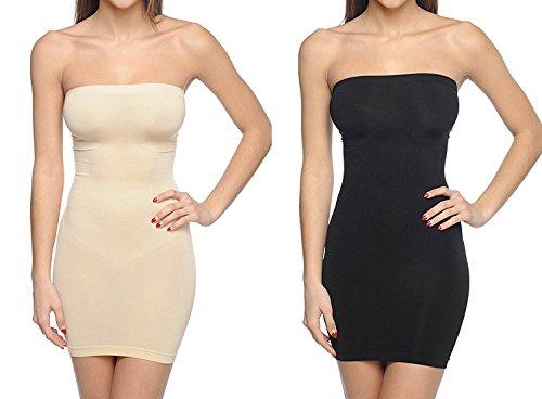 Body Beautiful Strapless Full Body Slip Shaper (Medium/Large, 2 Pack Black/Nude)