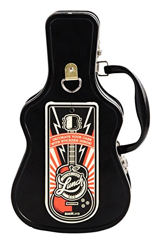 SUCK UK SK LUNCHGUITAR1 Guitar Lunch Box | TIN | Toy Storage | Bedroom Decor & Organization |, 11.02 x 3.19 x 6.10 in in, Black