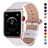 Fullmosa Compatible Watch Band 38mm 40mm 42mm 44mm, Genuine Leather Band Compatible Watch Series 4, Series 3, Series 2, Series 1, 38mm 40mm White + Rose Gold Buckle