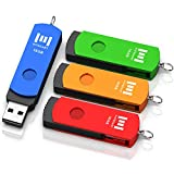 16GB USB 2.0 Flash Drive 4 Pack, A Set of 16 GB 360° Rotation Thumb Drives with Keychain, 16gig Multipack Jump Drive Memory Sticks for Computer Storage by MOSDART (Multicolor)