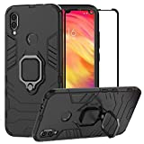 BestAlice for Xiaomi Redmi Note 7 / Redmi Note 7 Pro Case, Hybrid Heavy Duty Protection Shockproof Defender Kickstand Armor Case Cover Tempered Glass Screen Protector?Black