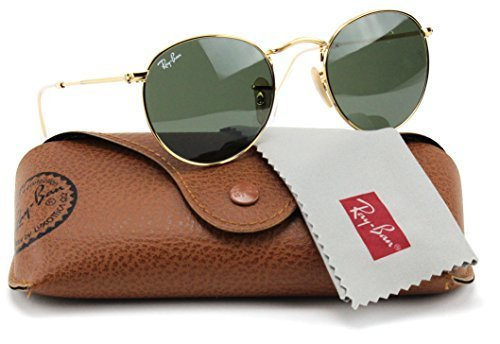 41RZmchKScL Model: RB3447 Round Metal. Color: 001 Arista Gold Frame / Crystal Green Lens. Original Ray-Ban Packaging, Box, Case and Cleaning Cloth included.