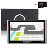 Xgody 826BT Car Trucking GPS Navigation System 16GB 7 Inch Touch Screen Vehicle GPS Navigator Spoken Turn-By-Turn Lifetime Map Updates Speed Limit Displays Support AV/IN