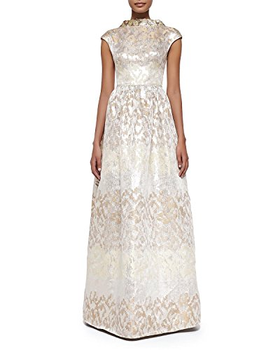 71Da5bhvOyL Badgley Mischka Collection evening gown in metallic jacquard with colorblock effect. Round neckline with sequin embellishment V'd back. Cap sleeves.Full A-line skirt.