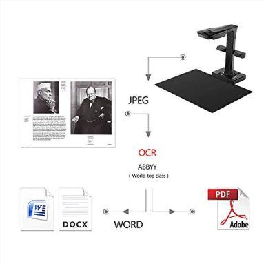 CZUR-ET16-Plus-Advanced-Book-Document-Scanner-2nd-Gen-Auto-FlattenDeskew-Tech-16MP-Sony-Camera-Capture-A3-186-Languages-OCR-Convert-to-PDFSearchable-PDFWordTiffExcel-Run-On-WindowsMacOS