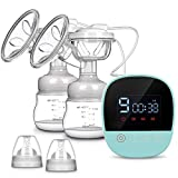 Electric Breast Pump - MOSFiATA Rechargeable Nursing Breastfeeding Pump with Massage Mode, LCD Smart Touch Screen, 3 Modes and Backflow Protector BPA Free