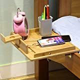 Bedside Shelf for Bunk Bed, Attachable Bed Shelf, Great Use as Kids Nightstand, Dorm Room Bunk Bed Tray for Students, Organizer for Laptop, Phones, Tablet, Remote, Books, Toys, Clock- Natural Bamboo