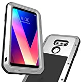 LG V35 ThinQ Case, LG V30 Case, Built-in Tempered Glass Screen Protector Shock Absorption Metal Shell Drop Resistant Silicone Rubber Cushion Protective Cover for LG V30 Plus/LG V30S ThinQ (Silver)