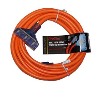 ProStar 10 Gauge SJTW 3 Conductor Triple Tap Extension Cord With Lighted Ends – Orange