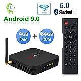 Greatlizard TX6 Android 9.0 Smart TV Box 4GB RAM 64GB ROM Quad Core 4K HD Resolution Dual WiFi 2.4G/5G Bluetooth 5.0 Set Top TV Box