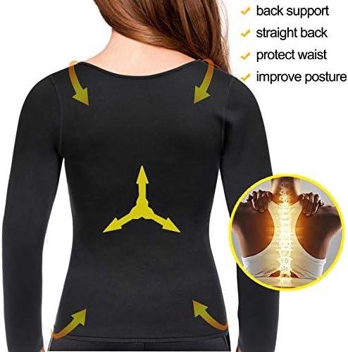 Gotoly Women Waist Trainer Hot Neoprene Shirt Sauna Suit Sweat Body Shaper Jacket Top Zipper Long Sleeve 5