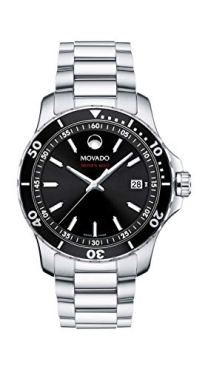 Movado Men's Series 800 Sport Stainless Watch with Printed Index Dial, Silver/Black (Model 2600135)