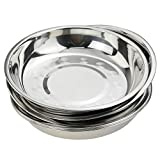 Nicesh 7.64 Inch Stainless Steel Round Plate, Dinner Plate Dish, Pack of 6