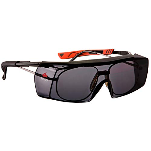 NoCry Tinted Over-Spec Safety Glasses - with Anti-Scratch Wraparound Lenses, Adjustable Arms, and UV400 Protection, Black & Red Frames. ANSI Z87.1 & OSHA Certified