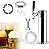 Single Tap Draft Beer Kegerator Tower, Single Chrome Beer Dispenser Tap Wrench Kits, Stainless Steel Homebrew Kegerator Home Bar Pub Single Faucet Kit