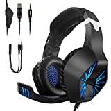RegeMoudal Gaming Headset for Xbox One, PS4, PC, Noise Cancelling Over Ear Headphones Mic, Blue LED Light, Subwoofer Surround, Soft Memory Earmuffs for PC Laptop Tablet and Smart Phone