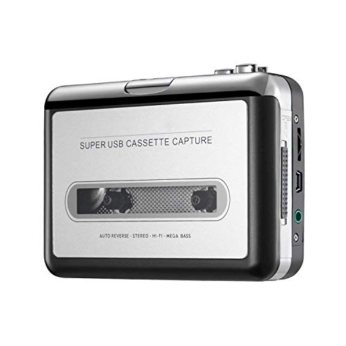 Reshow Cassette Player – Portable Tape Player Captures MP3 Audio Music via USB – Compatible with Laptops and Personal Computers – Convert Walkman Tape Cassettes to iPod Format