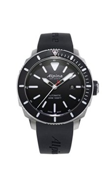 Alpina Men's SEASTRONG Diver 300 Stainless Steel Automatic-self-Wind Watch with Rubber Strap, Black, 22 (Model: AL-525LBG4V6)