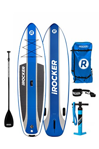 iROCKER CRUISER Inflatable Stand Up Paddle Board 10'6' Long 33' Wide 6' Thick SUP Package (2018 Blue)