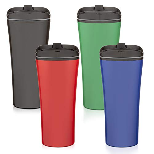Set of FOUR color coffee cup Insulated Travel Car Mug   Spill LEAK Proof Flip Lid   Triple Wall Vacuum Insulated Coffee & Tea Mug Keeps Hot or Cold   16 oz   leak free   great for travel. Liquor Sip.