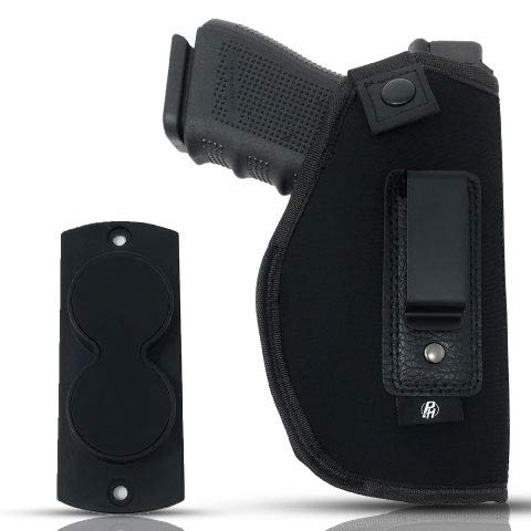 Combo IWB Gun Holster + Free Magnet - by PH | Concealed Carry Soft Material | Soft Interior | Fits Glock 17 19 23 25 32 38 | Sig Sauer P320 | Springfield XDS 4', XDE