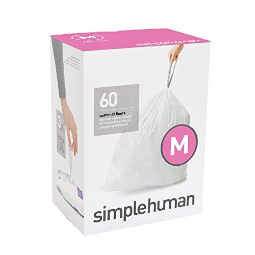 simplehuman Code M Custom Fit Drawstring Trash Bag, 45 Liter / 12 Gallon, 3 Refill Packs (60 Count)