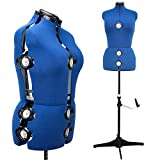 13 Dials Female Fabric Adjustable Mannequin Dress Form for Sewing, Mannequin Body Torso with Tri-Pod Stand, Up to 70' Shoulder Height. (Large)
