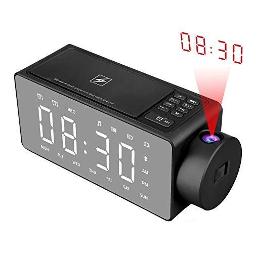 Htterino-Projection-Alarm-Clock-Bluetooth-Speaker-with-Wireless-Charging-DIY-RingtoneOne-Click-SnoozeBluetooth-Call-SpeakerFM-Radio-AUX-TF-Card-Input-ColorBlack