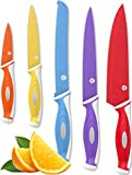 Vremi 10 Piece Colorful Knife Set - 5 Kitchen Knives with 5 Knife Sheath Covers - Chef Knife Sets with Carving Serrated Utility Chef's and Paring Knives - Magnetic Knife Set with Matching Color Case