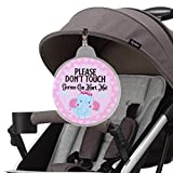 Hangnuo Baby Stroller Tag - Do Not Touch, Germs Can Hurt Me - Large Safety Sign for Newborn Preemie Car Seat, Baby Shower Gift for New Mom - Elephant