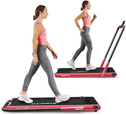 Goplus 2 in 1 Folding Treadmill, 2.25HP Under Desk Electric Treadmill, Installation-Free, with Remote Control, Bluetooth Speaker and LED Display, Walking Jogging Machine for Home Use 1