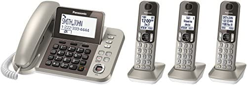 PANASONIC Corded/Cordless Phone System with Answering Machine and One Touch Call Blocking – 3 Handsets - KX-TGF353N (Champagne Gold) 12