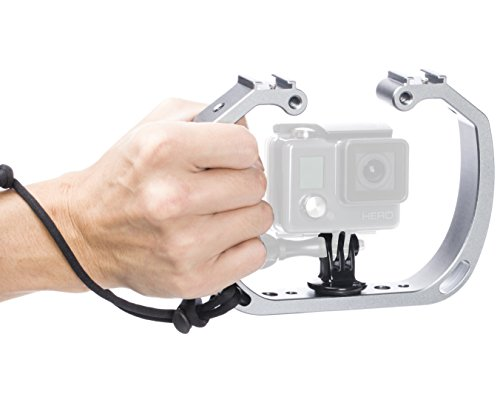 Movo GB-U70 Underwater Diving Rig for GoPro Hero with Cold Shoe Mounts, Wrist Strap - Works with HERO3, HERO4, HERO5, HERO6, HERO7 and Waterproof Action Cams - Perfect Scuba Gear GoPro Accessory
