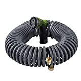 YeStar 50FT Garden Coil Hose, 3/4' Solid Brass Fittings, Leak Proof Connector, Flexible Water Hose with 7-Pattern Spray Nozzle, Easy to Storage, Kink Free Compact and Durable