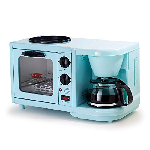 Maxi-Matic EBK-200BL Coffee Maker Toaster Oven Griddle 3-in-1 Multi-function Breakfast Center, Regular, Blue