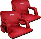 Brawntide Portable Stadium Seat Chair - Extra Thick Padding, Adjustable Bleacher Strap, Shoulder Straps, 4 Pockets, Water Resistant, Ideal for Sporting Events, Beaches, Parks, Camping (Red, 2 Pack)