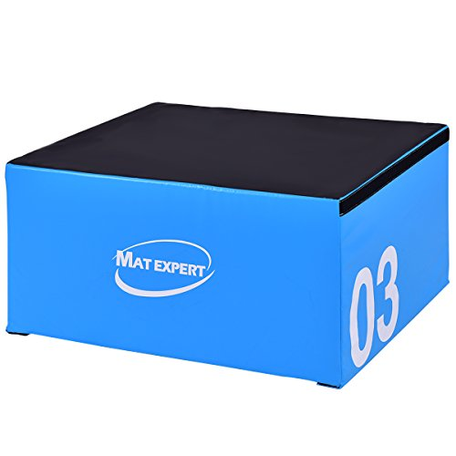MAT EXPERT PVC Soft Foam Jumping Box Plyometric Exercise Fitness Safe Box (18' Height)
